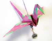 Tiny Peace Crane Origami Fabric Ornament. Great gift for home, office or for a car rear view mirror.