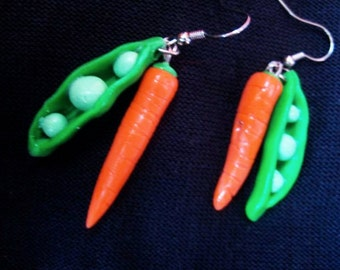 peas and carrots earrings