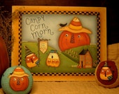 E-Pattern Halloween Pumpkin Primitive Candy Corn Morn  Fall Saltbox Painting With Friends Terrye French PAFA Team OFG Team AREtsy Team