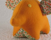 fleece baby elephant with vintage fabric ears