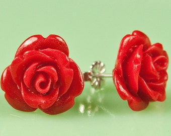 Vintage Lucite Rose Button Post Earrings