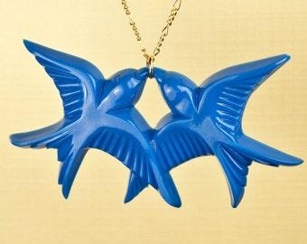 Vintage Blue Lucite Bird Necklace set on Gold Fill