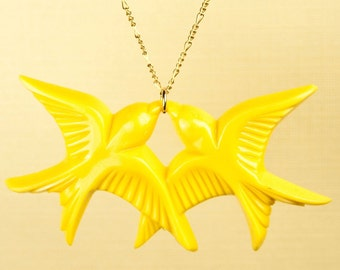 Vintage Yellow Lucite Bird Necklace set on Gold Fill