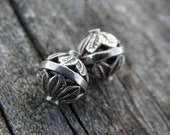 FREE SHIPPING - TWO Bali Sterling Silver Filigree Beads
