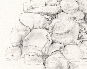 Boulders under the Bed, Original Drawing, Contemporary Art by Nicole Margaretten