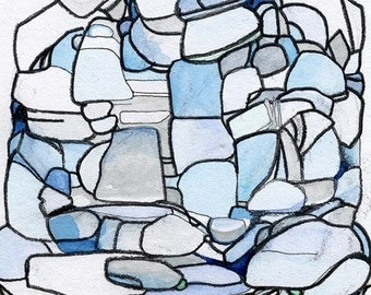 Abstract Artwork, Geometric, Contemporary Art Print, Blue Rocks with Flower Monster