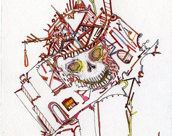 Skull, Roller Coaster, 8.5x11 Art Print, Haunted House, Man Cave Edition