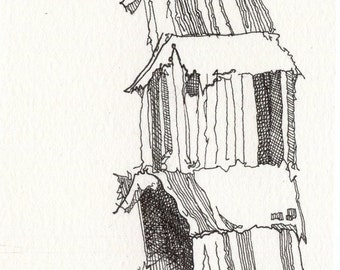 Contemporary Drawing, 8x10 Print, Black and White Artwork, Stack of Houses