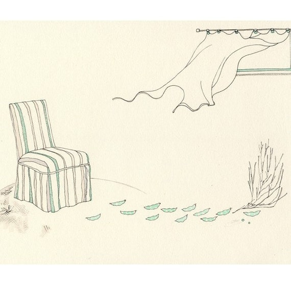 Drawing of a chair, peapods, tumbleweed, in a minimal room
