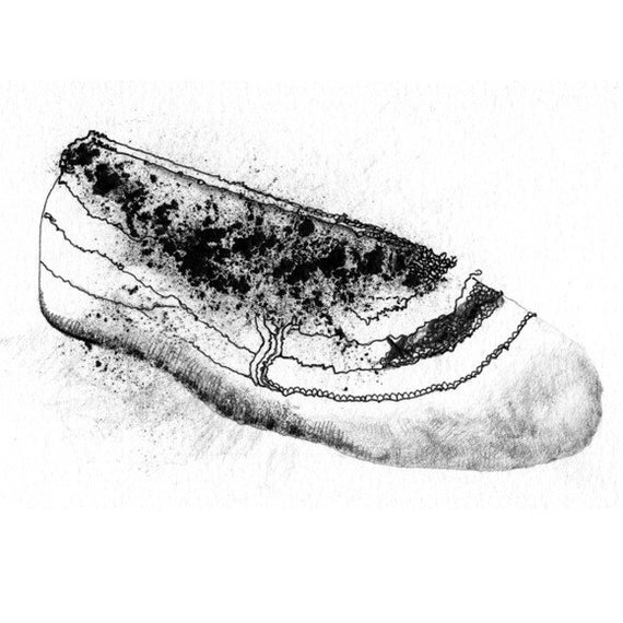 Drawing of a Ballet Shoe, Black and White Print, Noir, Mysterious