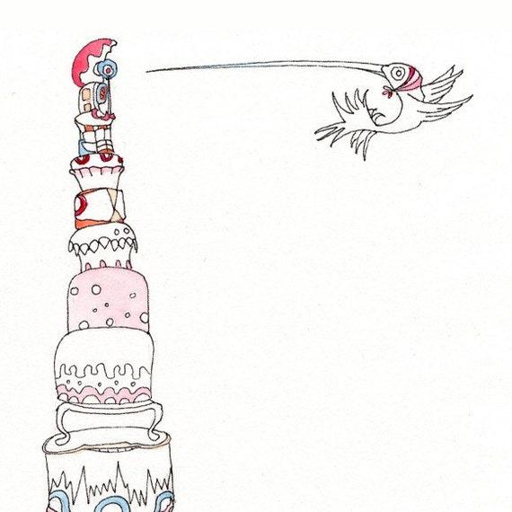 Birthday Cakes, Hummingbird, 8x10 Print by Nicole Margaretten