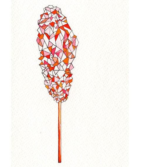 Geometric Art, Red Rock Candy, Original Drawing with Watercolor, orange, pink and cherry
