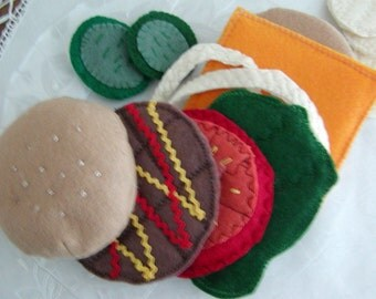 Felt Play Food, Hamburger and Chips with all the trimmings