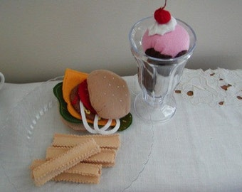 Felt Hamburger, Fries and an Ice Cream Sundae