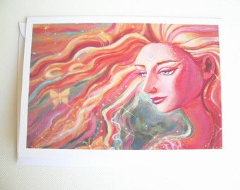 Angel art Greeting CARD -  from original painting titled Angel's Gift.