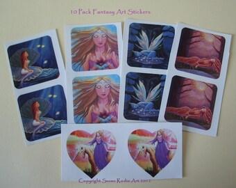 Sticker Set. 10 Pack of Fairy, Mermaid & Fantasy Art Stickers.