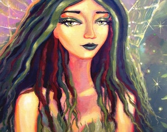 The Faery Of The Emerald Forest - ACEO - Fairy Art mini print.