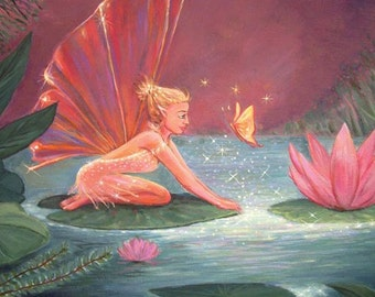 The Lotus Pond Fairy - Art Print from original painting on canvas