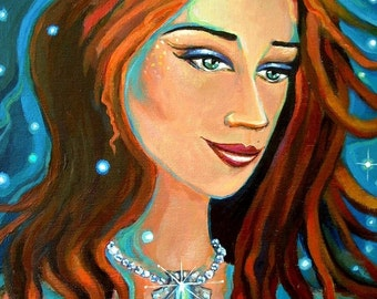 Emerald Waters - Mermaid art print 5 x 7