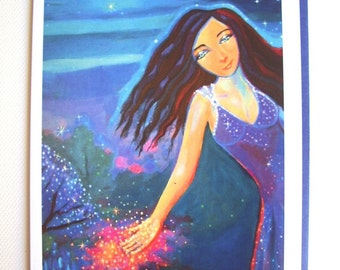 Greeting Card - Moon Maiden - from Original Painting by Susan Rodio