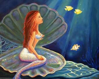 The Clamshell Mermaid 5 x 7 Fantasy Art Print