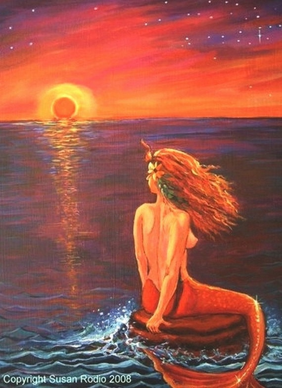 Watching The Sunset - Limited Edition Mermaid Art Print 5 x 7