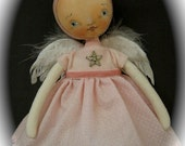 Folk Art - ANGEL BABY PINK - Handpainted Cloth Doll - OOAK