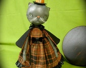 Primitive Folk Art - Tabby Kitty Witch Trick or Treat - Cloth and Paperclay Doll - OOAK