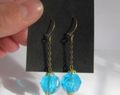 Vintage dangle chain blue earrings on 14kt gold hooks 1/2 OFF SALE