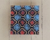 Wall Art - Pattern & Texture Clay Tile Mounted Wall Art - Orange and Blue Quatrefoil - Rustic Geometric Colorful Pottery Mosaic Home Decor
