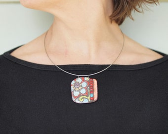 Necklace READY to SHIP Pendant Necklace Floral Pendant Necklace Ceramic Tile Necklace Blossom Tile Mosaic Necklace Colorful Pottery Jewelry