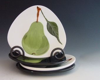 """Plate Set of Four Small Plates Green Pear Plate Serving Plate  Pear Sm Rounded Triangle Plates 7.5"""" Ceramic Hostess Gift Chef Gift P"""