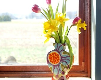 Vase Boho Vase Floral Vase Ceramic Vase Jubilation Flat Urn Vase Colorful Pottery Happy Home Decor Best Friend Birthday Gift Valentine Gift