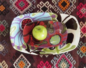 Serving Bowls Boho Bowls Boho Kitchen Decor Nesting Bowls Ceramic Bowls Urban Fusion Lg &Sm Scooped Bowl Set Gift for Couple Hostess Gift UF
