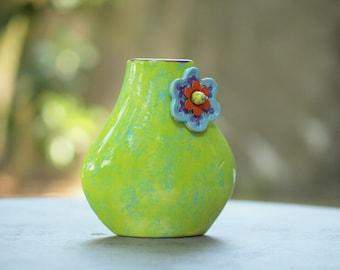 Small Vase Green Vase Flower Vase Ceramic Vase Jubilation Blooming Tear Drop Vase Boho Gift for Teacher Gift for Coworker Gift for Couple