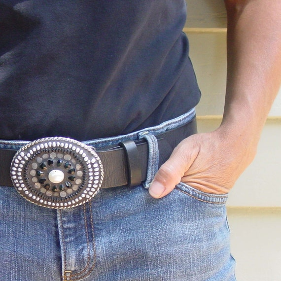 Mosaic Belt Buckle Black and White Belt Buckle Unisex Gift for Urban Cowboy Biker Dude Hip Dad or Cool Mom with Rocker Chic Flair
