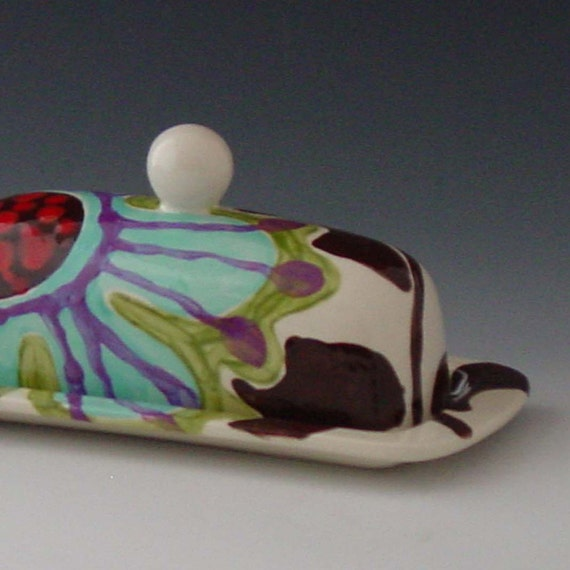 Butter Dish Boho Pottery Covered Butter Dish Ceramic Butter Dish Urban Fusion Butter Dish Boho Kitchen Gift for Chef Hostess Gift UF