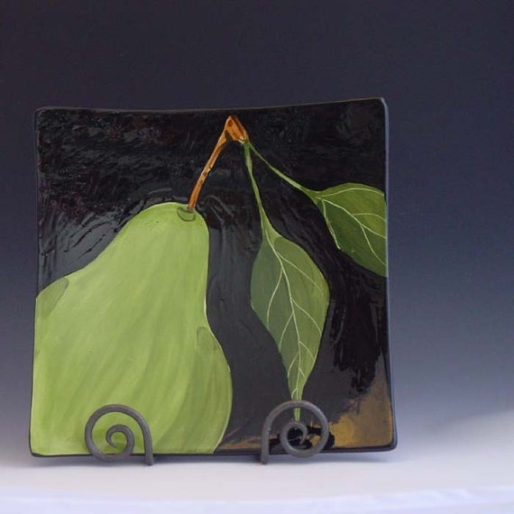 "Platter Pottery Tray Green Pear Square Plate,  At Large Pear Large Square Minimalist Tray 11.5"" Black and Green Serving Hostess Gift"