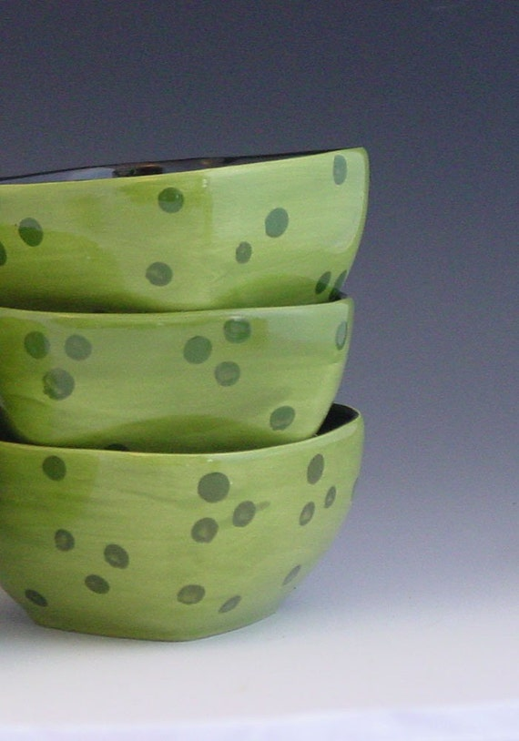 Polka Dot Green & Black Bowls | Etsy