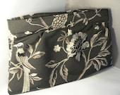 Black  Birds and Flowers Clutch Evening Handbag