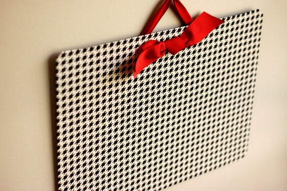 Memo Board - Large (13x18) Magnetic Bulletin Board - Black and Ivory Houndstooth - READY TO SHIP