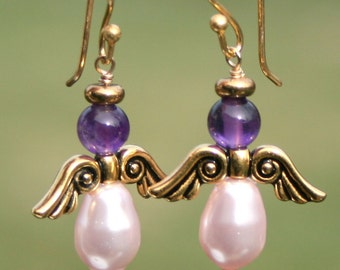 Angel Earrings,  Amethyst Pink Pearl Earrings, Gold Vermeil Earrings,Purple Dangle Earrings, Pink Purple Earrings by maggie mcmane designs