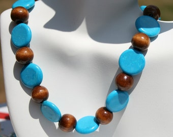 Blue Turquoise Wood Necklace, Sterling Silver Chunky Necklace, Beaded, Blue and Brown Necklaceby Maggie McMane Designs