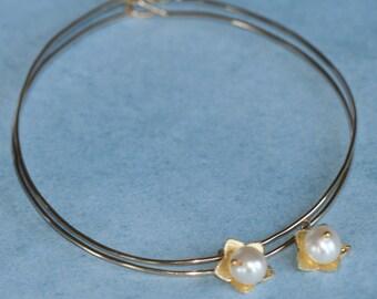 Large Hoop Earrings, Flower Earrings, Pearl Earrings, Gold Hoop Earrings, Lightweight Earrings , Teardrop Earrings by Maggie McMane Designs