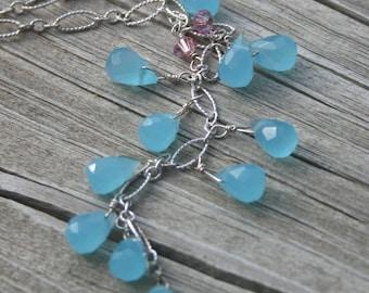 Blue Quartz Y Necklace, Pink Crystal Blue Quartz Drop Necklace, Sterling Silver Necklace, Y Necklace, Blue Necklace by maggie mcmane designs