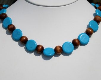Blue Turquoise Necklace, Sterling Silver Chunky Necklace, Beaded, Blue Turquoise and Brown Wood Bead Necklace by Maggie McMane Designs