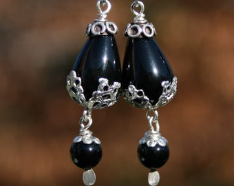Black Onyx Sterling Silver Drop Earrings w Leverbacks by Maggie McMane Designs
