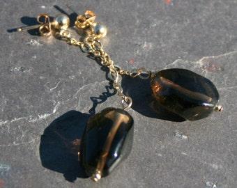 Smoky Quartz Earrings. Gold Dangle Chain Earrings, Brown Dangle Earrings, Quartz Nuggets, Quartz Earrings, Brown by Maggie McMane Designs