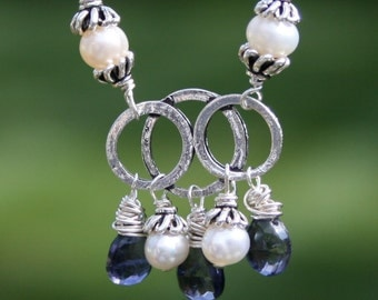 Iolite Necklace, Pearl Necklace, Boho Necklace, Sterling Silver Necklace, Iolite Pearl Cluster Necklace Handmade by Maggie McMane Designs