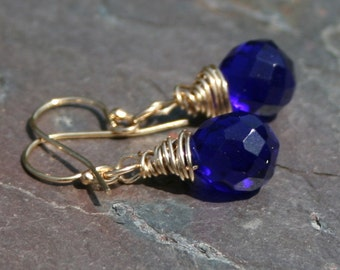 Blue Purple Earrings in 14k Gold Fill Petite Maggie McMane Designs
